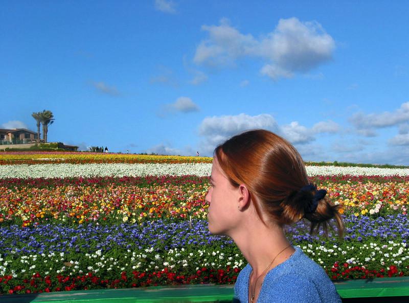 Carlsbad Flower Fields, Girl and Fields
