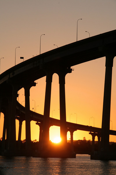 Coronado, Setting Sun Behind Coronado Bridge