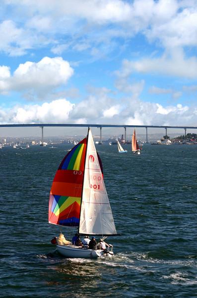 Coronado, Colorful Sailboats & Coronado Bridge