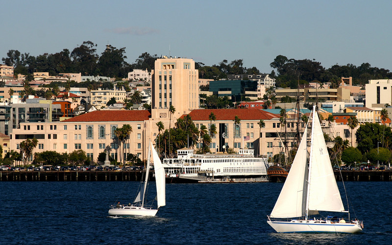 County Administration Building from San Diego Bay with Sailboats