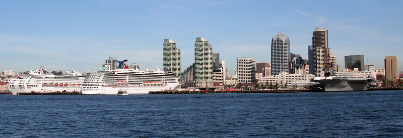 Cruise Ships & USS Midway in San Diego