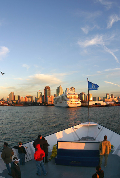 View on San Diego Skyline with Cruise Ship from Hornblower Harbor Cruises