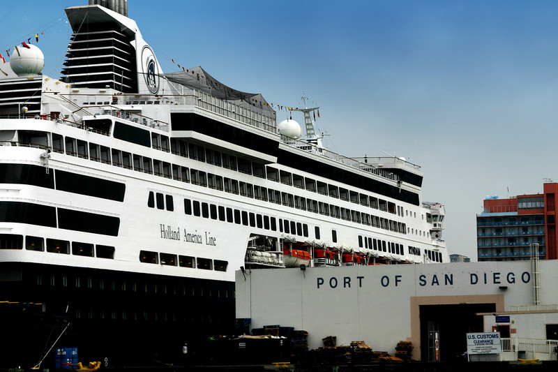 Holland America Line Docked at San Diego Cruise Terminall