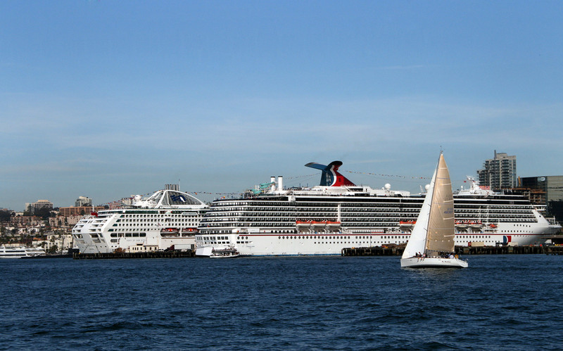 Cruise Ships and Sailboat in San Diego Harbor