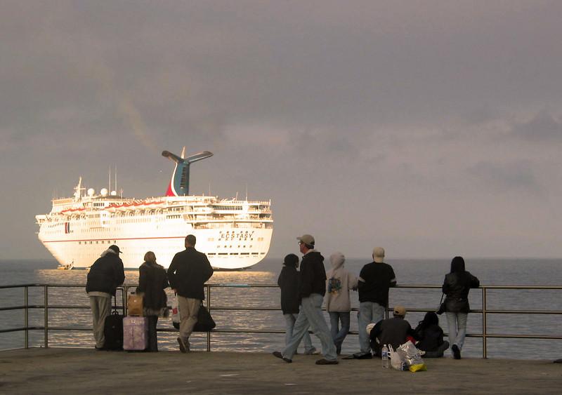 Carnival Cruise Lines Ecstacy Entering Port of Ensenada