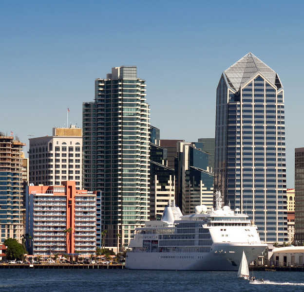 Cruise Ship with San Diego Skyline