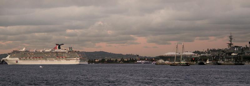 Cruise Ship Leaving Bay at Dusk