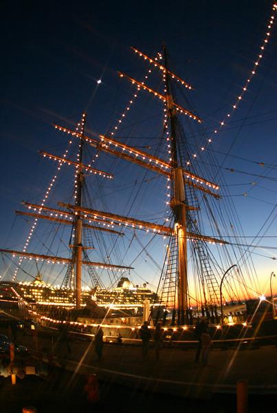 San Diego Embarcadero, Star of India, Cruise Ship Night View