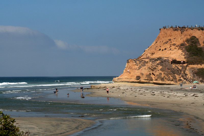 Del Mar Beach Scene with Walkers