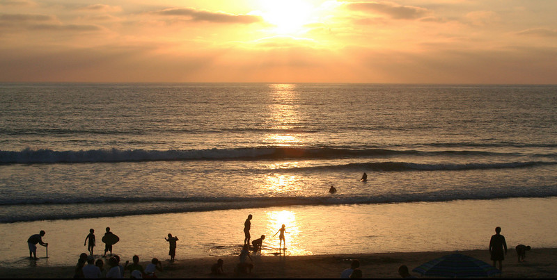 San Diego Beaches, Del Mar Beach at Sunset