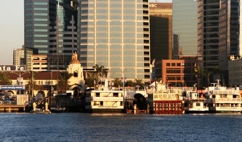 Downtown Views from Bay, Embarcadero, Ships, Santa Fe Terminal