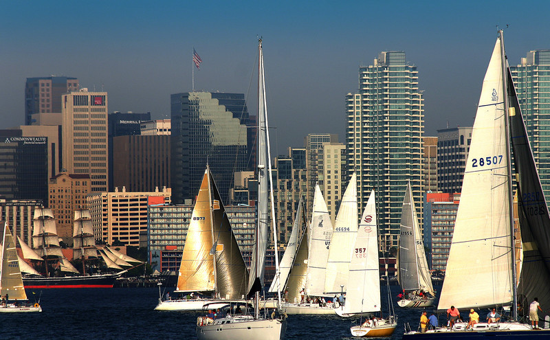 Downtown Views from Bay, Sailboats at Sunset on San Diego Bay