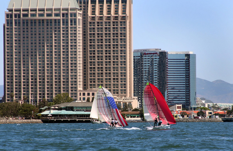 Downtown Views from Bay, Colorful sails on Bay