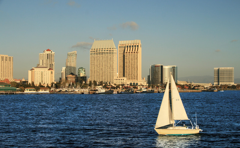 Downtown Views from Bay, Skyline and Sailboat