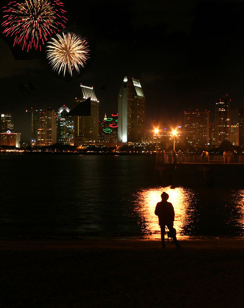 San Diego Skyline with New Year's Fireworks
