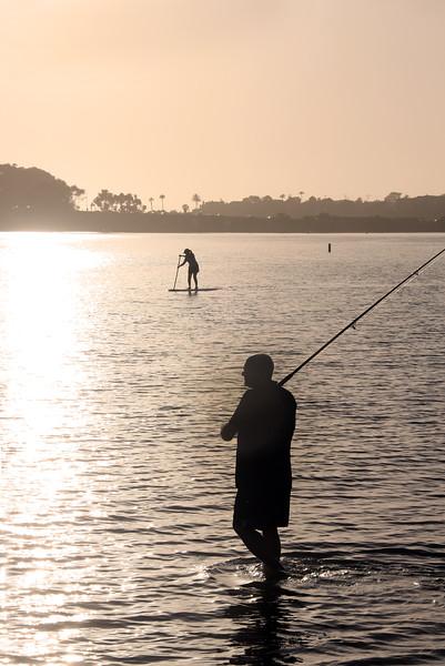 Grand Pacific Palisades Resort, Carlsbad California, Carlsbad Lagoon Fisherman and SUP