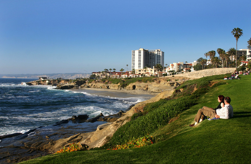 La Jolla, Couple on Lawn With View of Shoreline