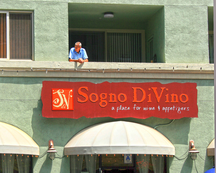 San Diego Little Italy, Man on Balcony