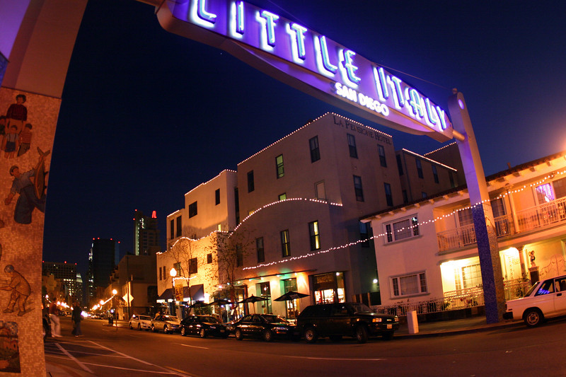 Little Italy San Diego, Evening View with Sign ©Joanne DiBona