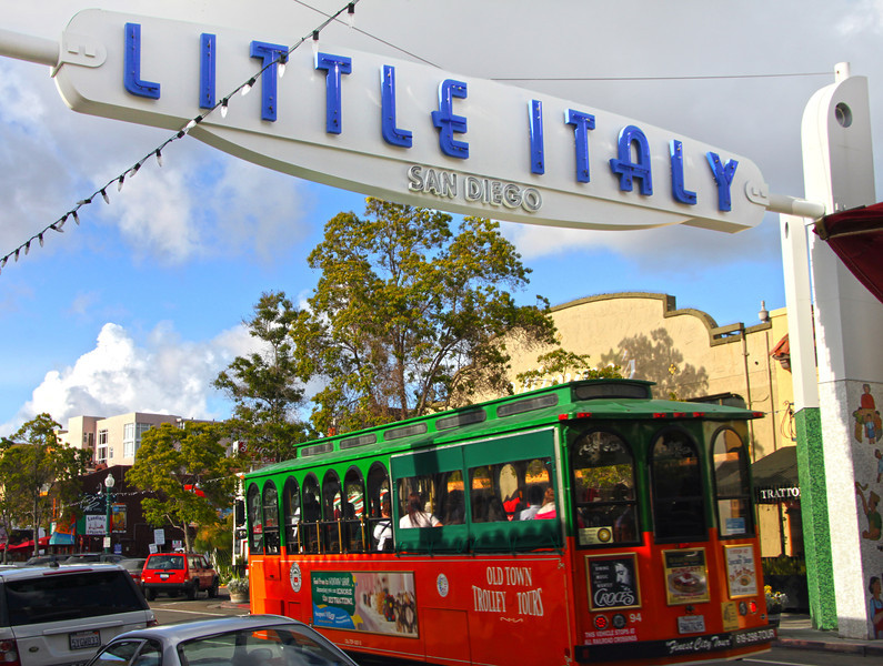 San Diego Little Italy, Trolley and Neighborhood Sign