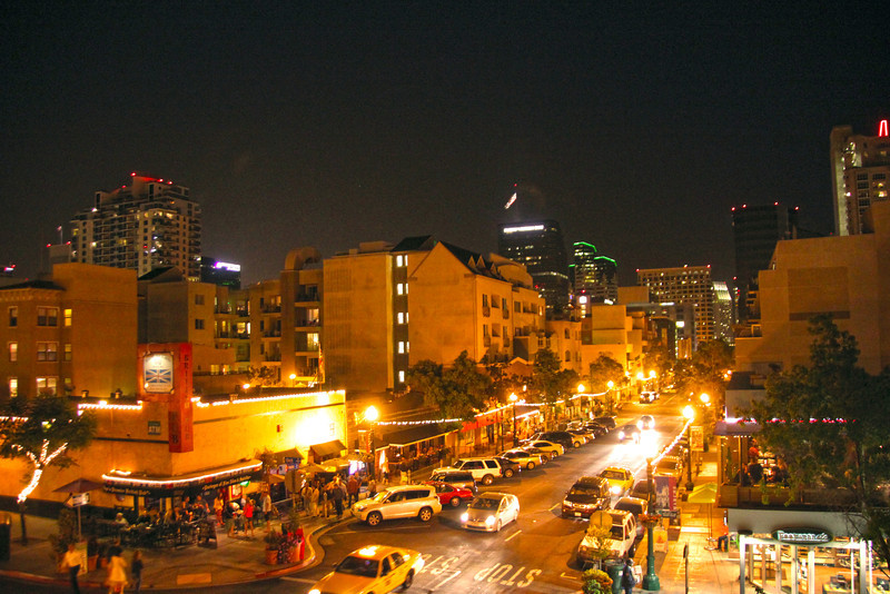 San Diego Little Italy, Evening View on Downtown Skyline
