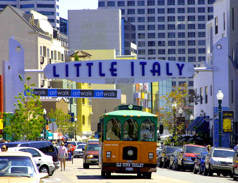 Little Italy, San Diego, Trolley & Sign