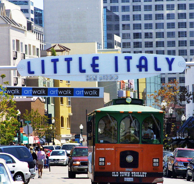 Little Italy San Diego, Old Town Trolley & Sign ©Joanne DiBona