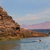 Midriff Islands, Gulf of California, Snorkelers, View on Isla de la Guardia