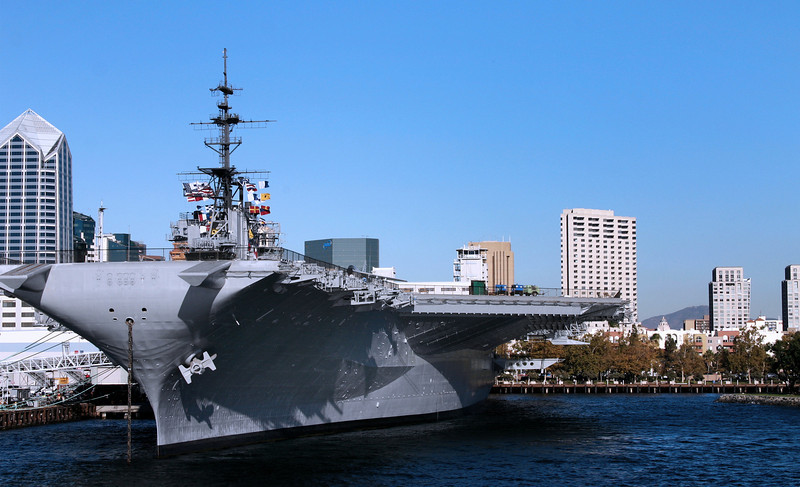 Midway Aircraft Carrier Museum, Docked with Skyline