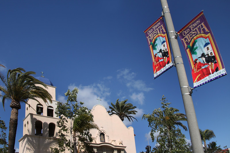 Old Town San Diego, Mission-style Church and Banners
