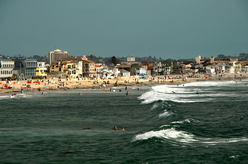 Pacific Beach San Diego, View on Swimmers from Crystal Pier