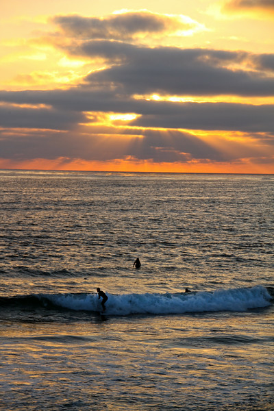 Pacific Beach San Diego, Surfer in Sunset