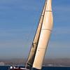 Sailing, Golden Sail on Sea Outside San Diego Bay