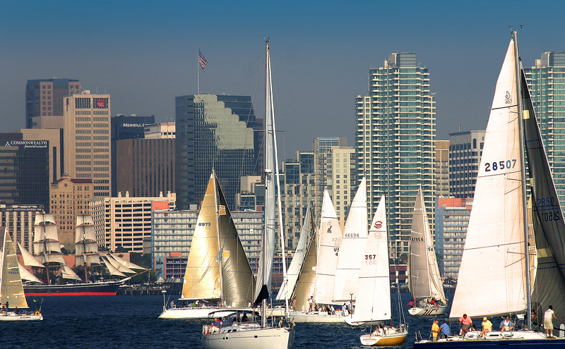 Sailing, Golden Sailboats at Sunset from San Diego Bay