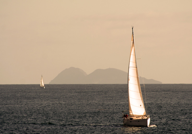 Sailing, Dusk with View on Coronado Islands