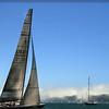 Sailing, America's Cup sailboat, fog bank Pt
