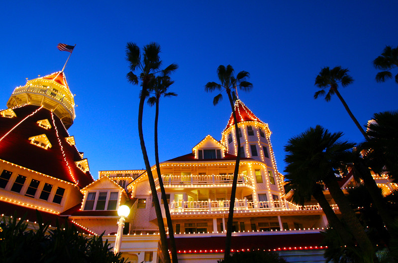 San Diego for the Holidays, Hotel Del Coronado, Holiday Lights & Palm