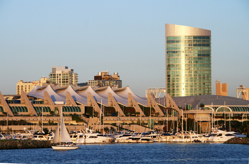 SD Convention Center, View from Bay at Dusk