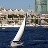SD Convention Center, View from Bay with Sailboat in Foreground