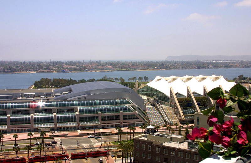 SD Convention Center, View from Above with Pt  Loma and Ocean