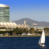 SD Convention Center, View from Bay with Sailboat