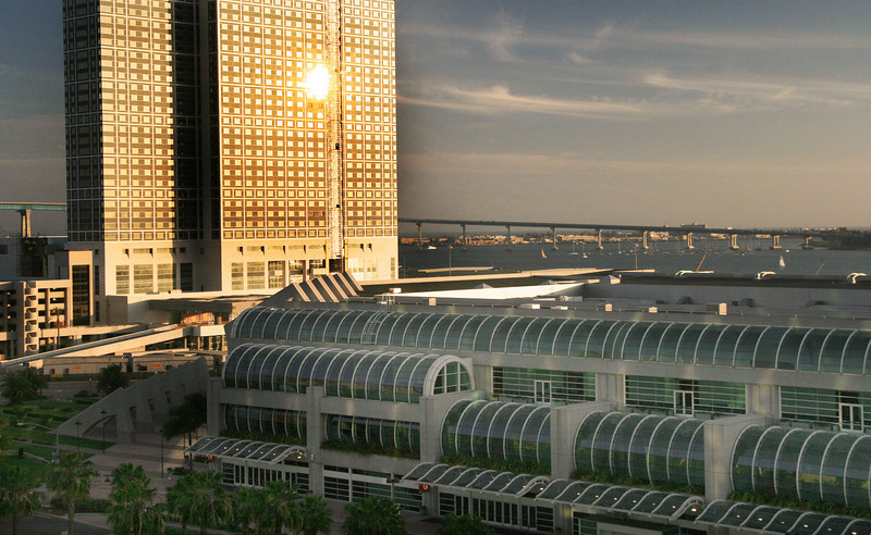 SD Convention Center, View at Dusk with Hilton in Background