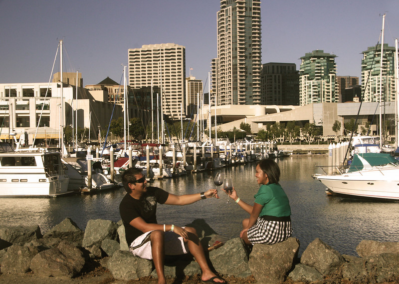 San Diego Downtown, Couple Toast at Food & Wine Festival Embarcadero Park