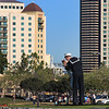 San Diego Downtown, View of WWII Statue from Harbor