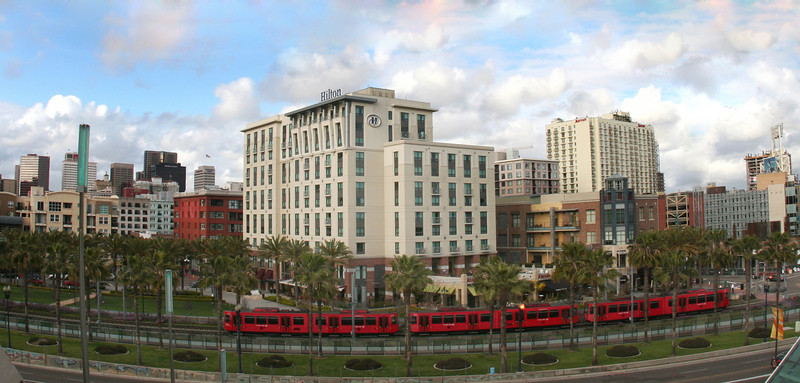 San Diego Downtown, Long View on Trolley from Convention Center