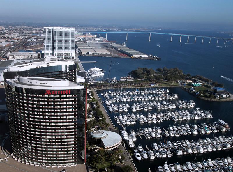 San Diego Downtown, View on Marriott Marina and Coronado Bridge