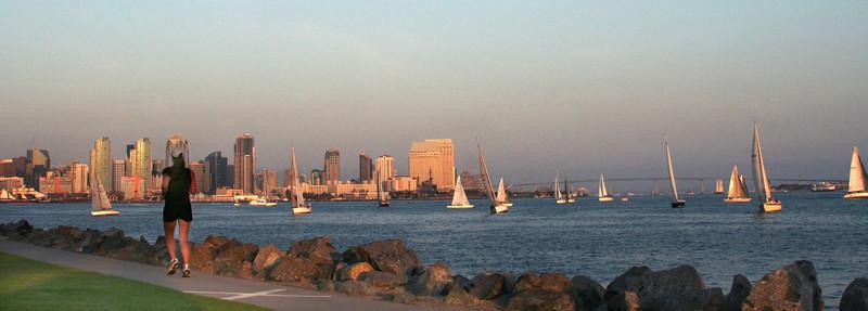 Harbor Island, Runner at Sunset with Skyline