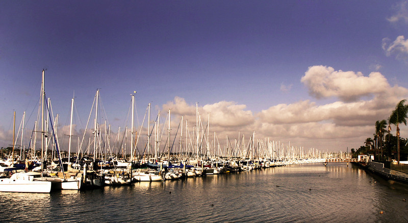 Shelter Island, View Over Boats in Marina at Sunset