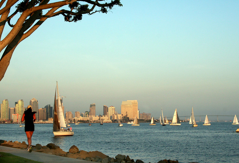 Harbor Island, Runner at Sunset with Skyline View