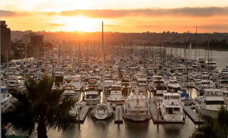 Harbor Island, View on Marina at Sunrise